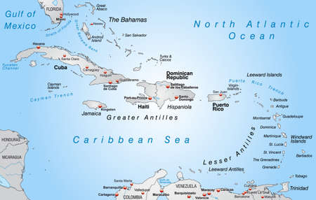 cartographer: Map of antilles as an overview map in gray