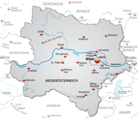 overview: Map of Lower Austria as an overview map in gray