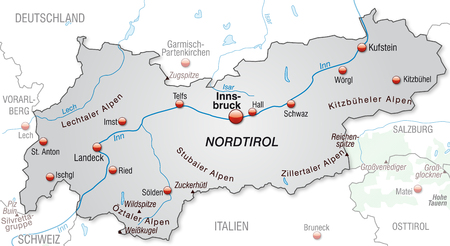 tyrol: Map of tyrol as an overview map in gray