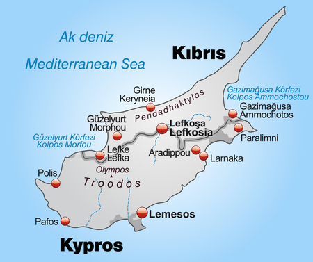 kypros: Map of Cyprus as an overview map in gray