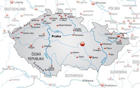 Kaart van Tsjechië als een overzichtskaart in grijs Stock Illustratie