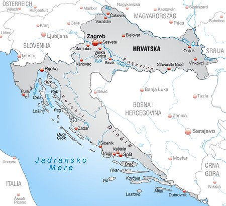 Map of Croatia as an overview map in gray
