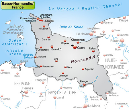 basse normandy: Map of Lower Normamdy as an overview map in gray