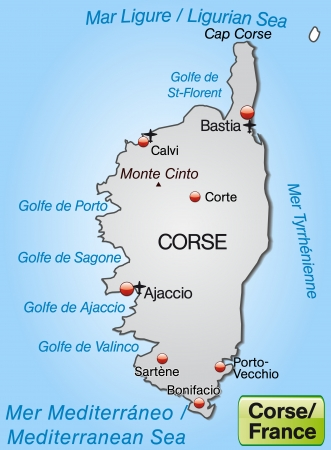 ajaccio: Map of corsica as an overview map in gray