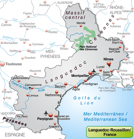 Map of languedoc-roussillon as an overview map in gray Vector