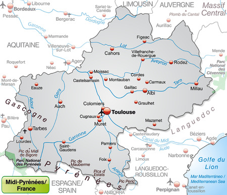 toulouse: Map of Midi-Pyrenees as an overview map in gray
