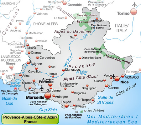 Map of Provence-Alpes-Cote d Azur as an overview map in gray