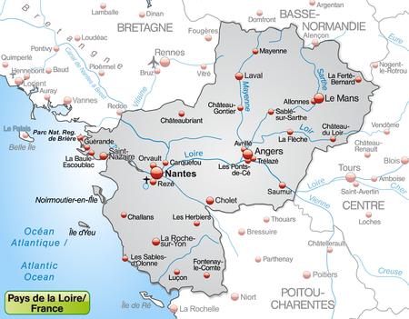 Map of Pays de la Loire as an overview map in gray
