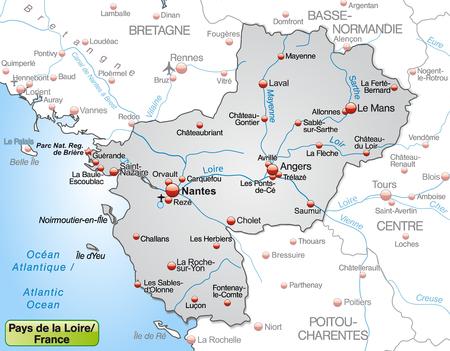 sur: Map of Pays de la Loire as an overview map in gray