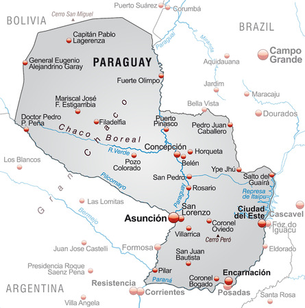Map of Paraguay as an overview map in gray