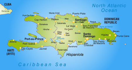 cartographer: Map of hispaniola as an overview map in green Illustration