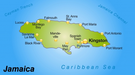 black maria: Map of Jamaica as an overview map in green Illustration