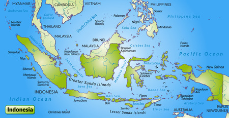 overview: Map of Indonesia as an overview map in green