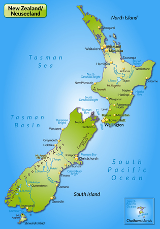 new zealand: Map of new zealand as an overview map in green