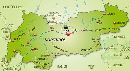 Map of tyrol as an overview map in green Vector