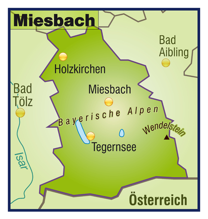 lake district: Map of miesbach as an overview map in green
