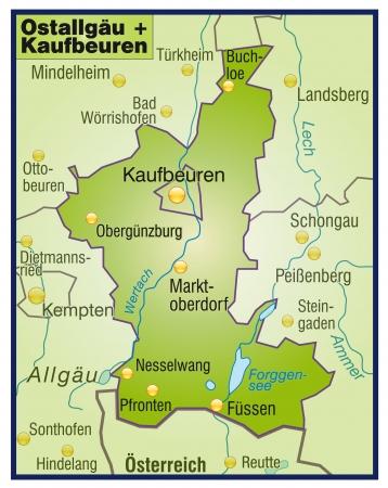 loe: Map of Ostallgaeu Kaufbeuren as an overview map in green