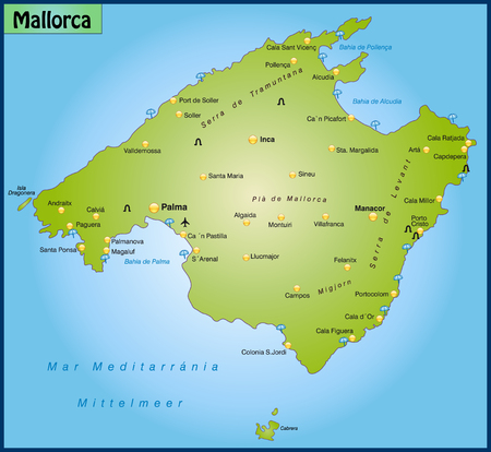 majorca: Map of Mallorca as an overview map in green Illustration