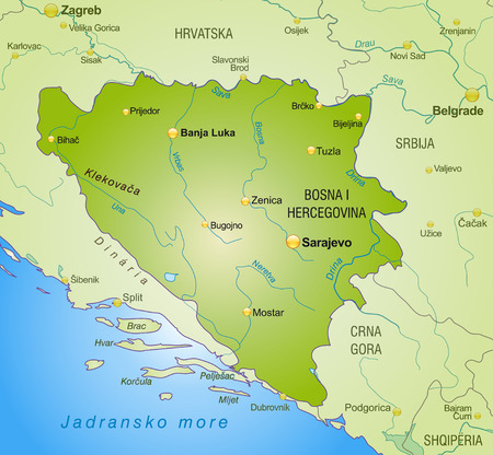Map of Bosnia and Herzegovina as an overview map in green Vector