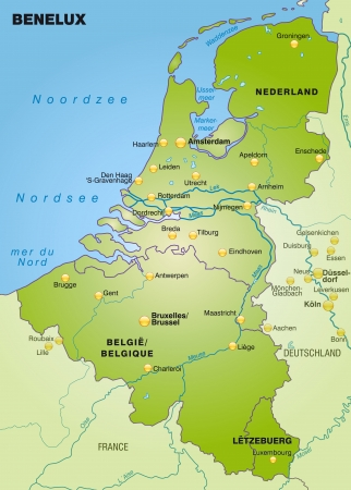 Map of Benelux as an overview map in green