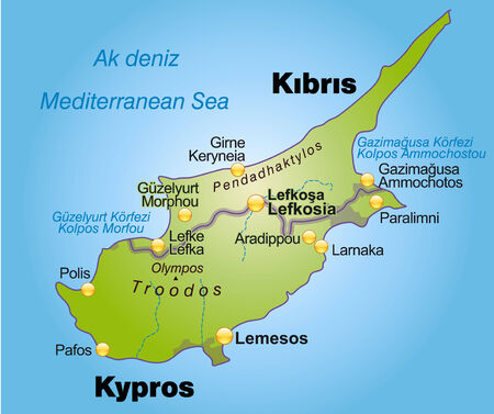 kibris: Map of Cyprus as an overview map in green