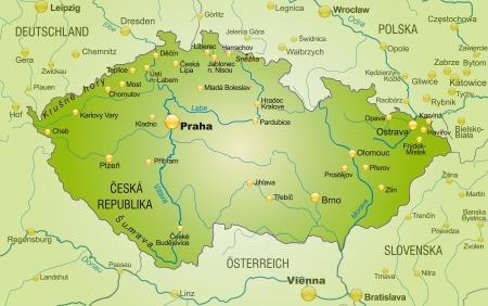 Kaart van Tsjechië als een overzichtskaart in groen