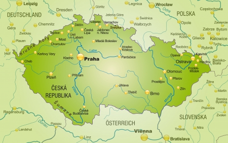 Map of Czech Republic as an overview map in green