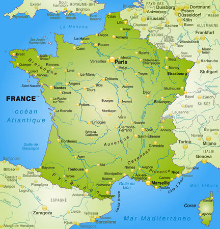 cartographer: Map of France as an overview map in green
