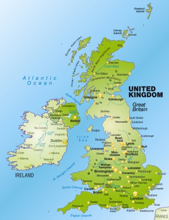 leeds: Map of England as an overview map in green Illustration