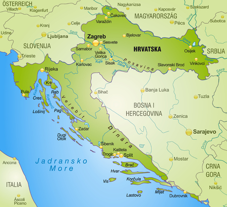 Map of Croatia as an overview map in green