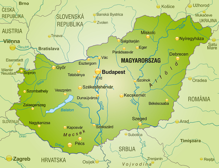 Map of Hungary as an overview map in green Vector