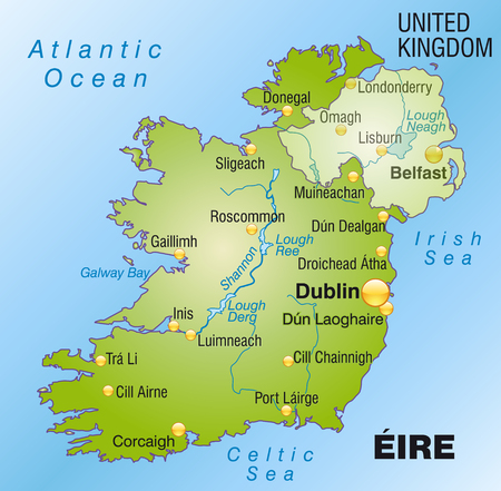 dun: Map of Ireland as an overview map in green Illustration