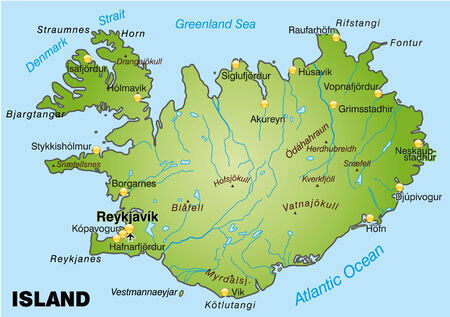 cartographer: Map of Iceland as an overview map in green