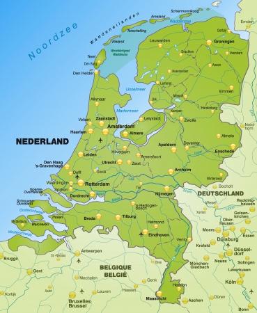 Karte von Niederlande als Übersichtskarte in grün