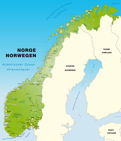 Map of Norway as an overview map in green