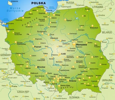 Kaart van Polen als een overzichtskaart in het groen