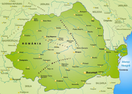 romania: Map of Romania as an overview map in green
