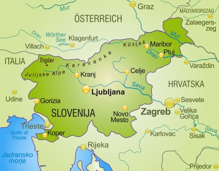 Map of Slovenia as an overview map in green