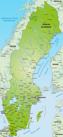cartographer: Map of Sweden as an overview map in green Illustration