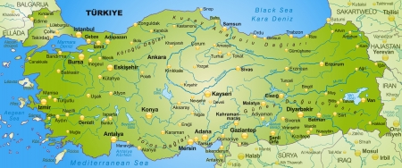 Map of Turkey as an overview map in green Vector