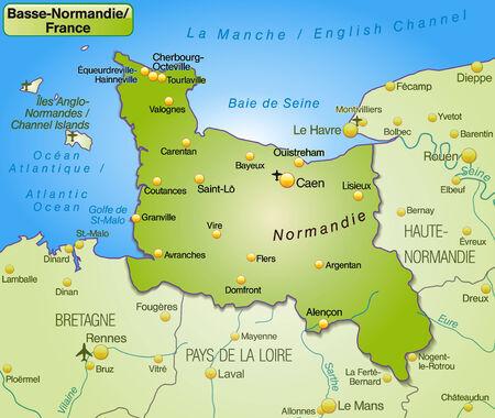 Karte von Lower Normamdy als Übersichtskarte in grün