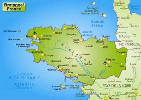 Kaart van Bretagne als een overzichtskaart in het groen