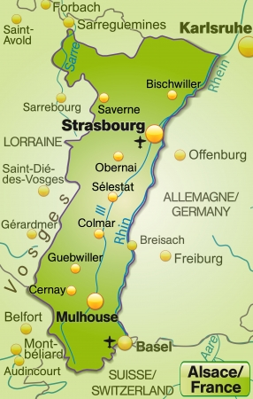 strasbourg: Map of Alsace as an overview map in green