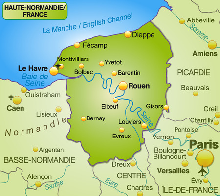 normandy: Map of Upper Normandy as an overview map in green