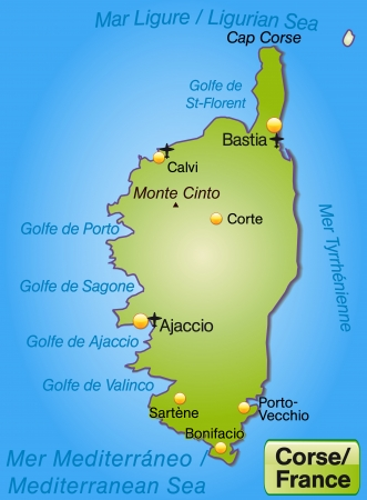 corsica: Map of corsica as an overview map in green Illustration