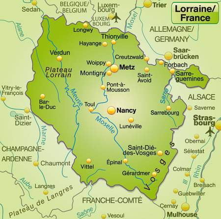 Map of lorraine as an overview map in green Illustration