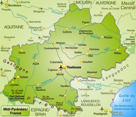 toulouse: Map of Midi-Pyrenees as an overview map in green