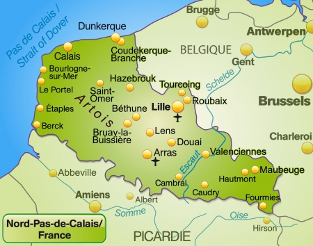 lille: Map of North-pas-de-calais as an overview map in green Illustration