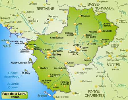 Map of Pays de la Loire as an overview map in green