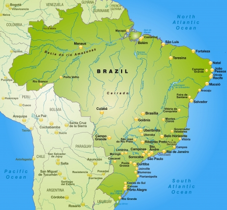 Map of Brazil as an overview map in green Vectores